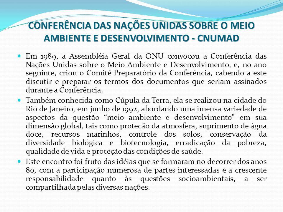 CONFERÊNCIA DAS NAÇÕES UNIDAS SOBRE O MEIO AMBIENTE E DESENVOLVIMENTO - CNUMAD Em 1989, a Assembléia Geral da ONU convocou a Conferência das Nações Un