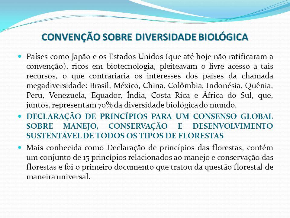 CONVENÇÃO SOBRE DIVERSIDADE BIOLÓGICA Países como Japão e os Estados Unidos (que até hoje não ratificaram a convenção), ricos em biotecnologia, pleite