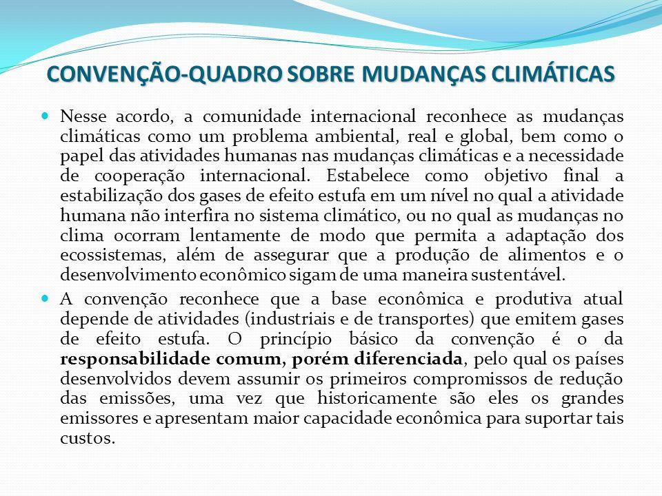 CONVENÇÃO-QUADRO SOBRE MUDANÇAS CLIMÁTICAS Nesse acordo, a comunidade internacional reconhece as mudanças climáticas como um problema ambiental, real