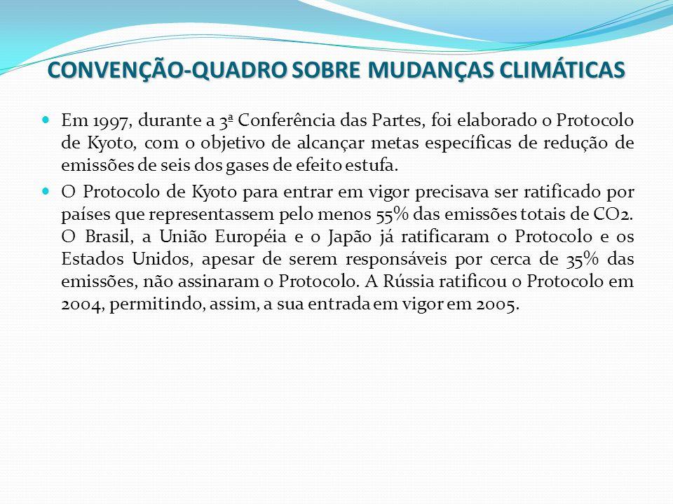 CONVENÇÃO-QUADRO SOBRE MUDANÇAS CLIMÁTICAS Em 1997, durante a 3ª Conferência das Partes, foi elaborado o Protocolo de Kyoto, com o objetivo de alcança
