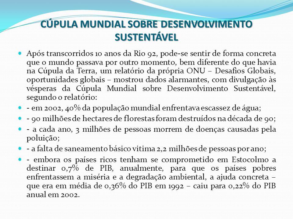 CÚPULA MUNDIAL SOBRE DESENVOLVIMENTO SUSTENTÁVEL Após transcorridos 10 anos da Rio 92, pode-se sentir de forma concreta que o mundo passava por outro