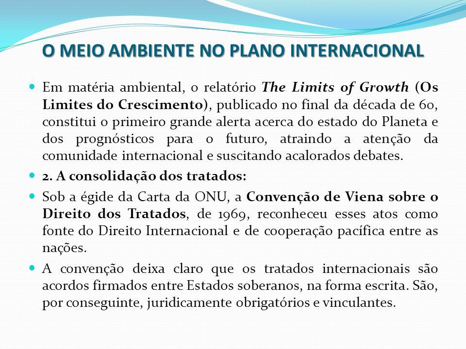 O MEIO AMBIENTE NO PLANO INTERNACIONAL Em matéria ambiental, o relatório The Limits of Growth (Os Limites do Crescimento), publicado no final da décad