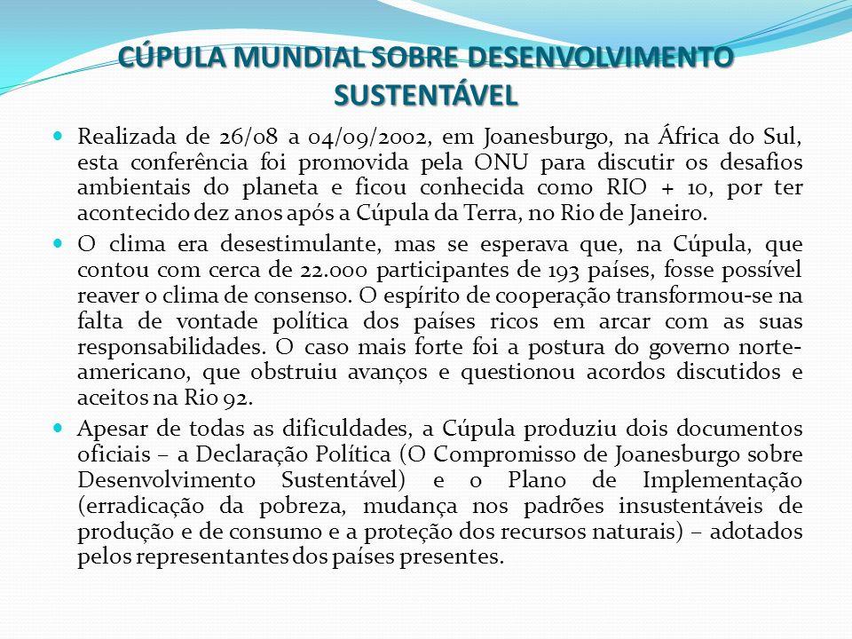 CÚPULA MUNDIAL SOBRE DESENVOLVIMENTO SUSTENTÁVEL Realizada de 26/08 a 04/09/2002, em Joanesburgo, na África do Sul, esta conferência foi promovida pel