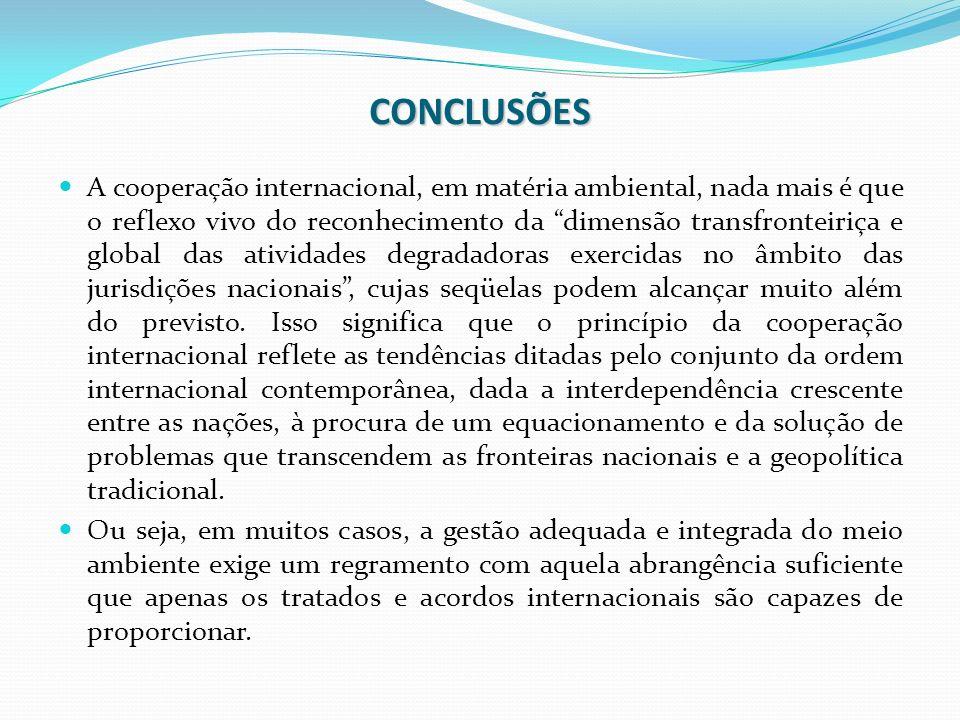 CONCLUSÕES A cooperação internacional, em matéria ambiental, nada mais é que o reflexo vivo do reconhecimento da dimensão transfronteiriça e global da