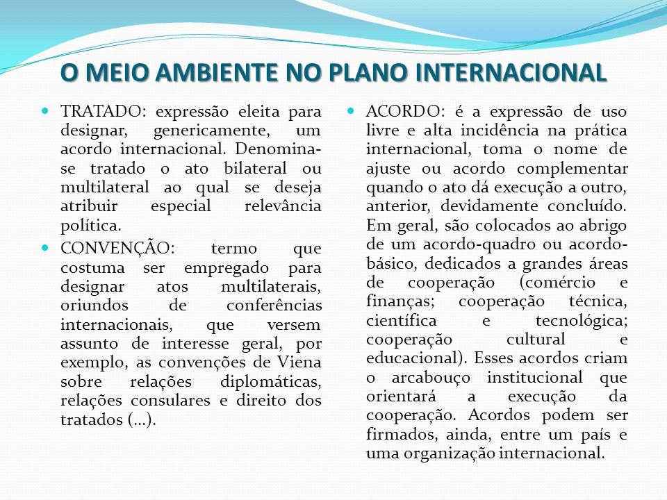 O MEIO AMBIENTE NO PLANO INTERNACIONAL TRATADO: expressão eleita para designar, genericamente, um acordo internacional. Denomina- se tratado o ato bil