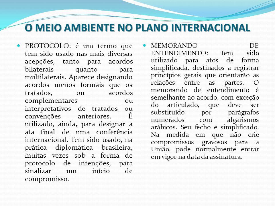 O MEIO AMBIENTE NO PLANO INTERNACIONAL PROTOCOLO: é um termo que tem sido usado nas mais diversas acepções, tanto para acordos bilaterais quanto para