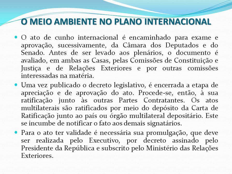 O MEIO AMBIENTE NO PLANO INTERNACIONAL O ato de cunho internacional é encaminhado para exame e aprovação, sucessivamente, da Câmara dos Deputados e do