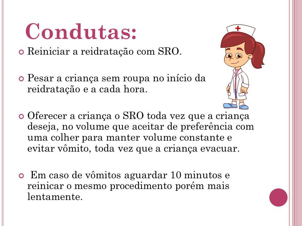 Condutas: Reiniciar a reidratação com SRO. Pesar a criança sem roupa no início da reidratação e a cada hora. Oferecer a criança o SRO toda vez que a c