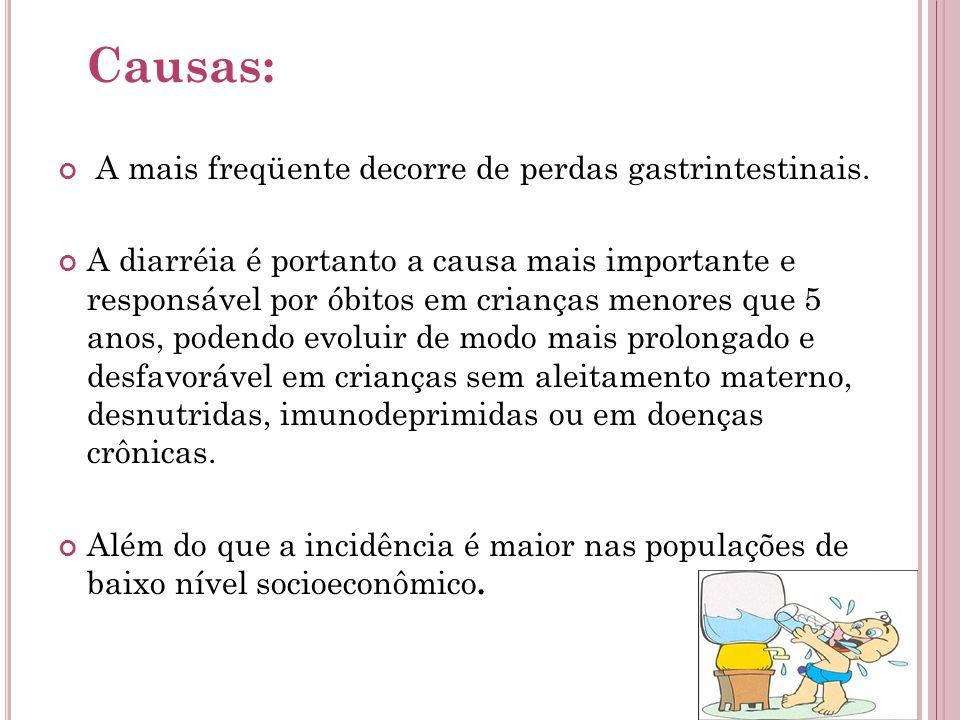 Causas: A mais freqüente decorre de perdas gastrintestinais. A diarréia é portanto a causa mais importante e responsável por óbitos em crianças menore