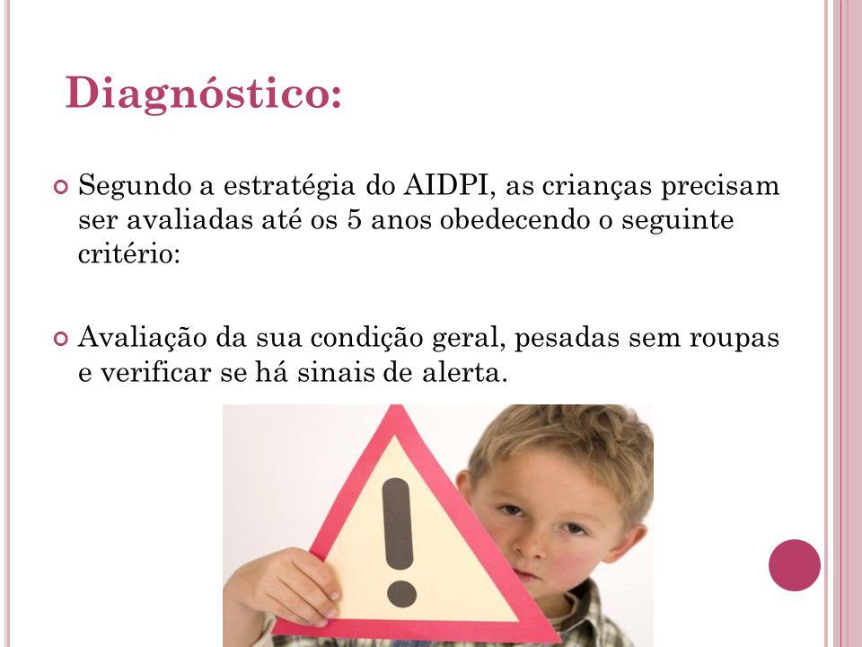 Diagnóstico: Segundo a estratégia do AIDPI, as crianças precisam ser avaliadas até os 5 anos obedecendo o seguinte critério: Avaliação da sua condição