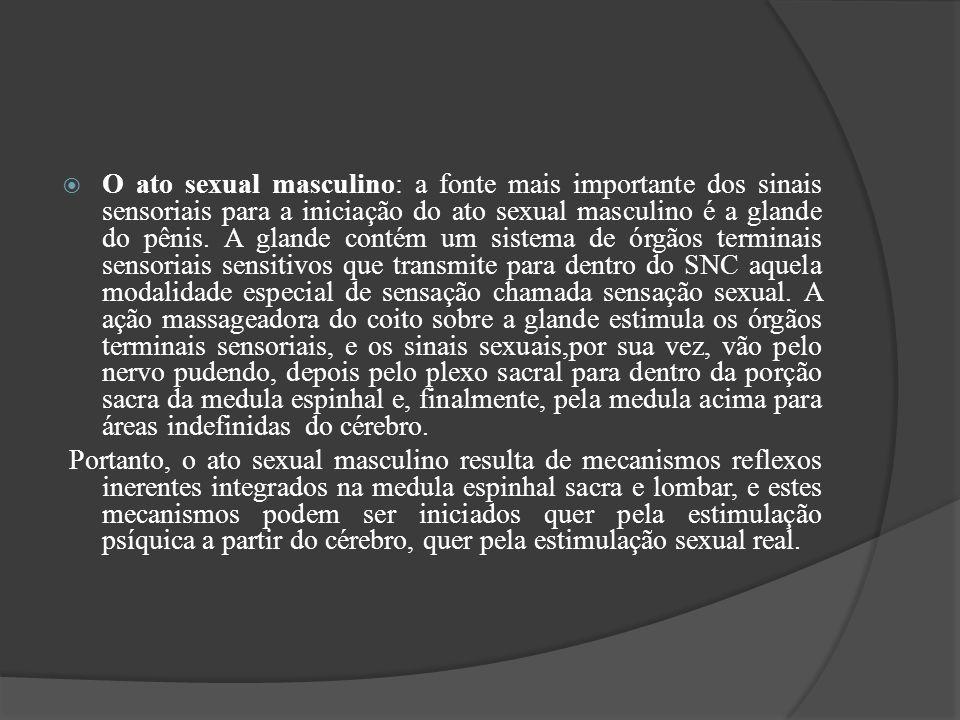 O ato sexual masculino: a fonte mais importante dos sinais sensoriais para a iniciação do ato sexual masculino é a glande do pênis. A glande contém um