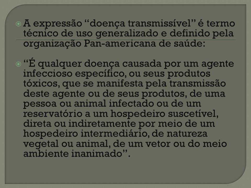 A expressão doença transmissível pode ser sintetizada como doença cujo agente etiológico é vivo e é transmissível.