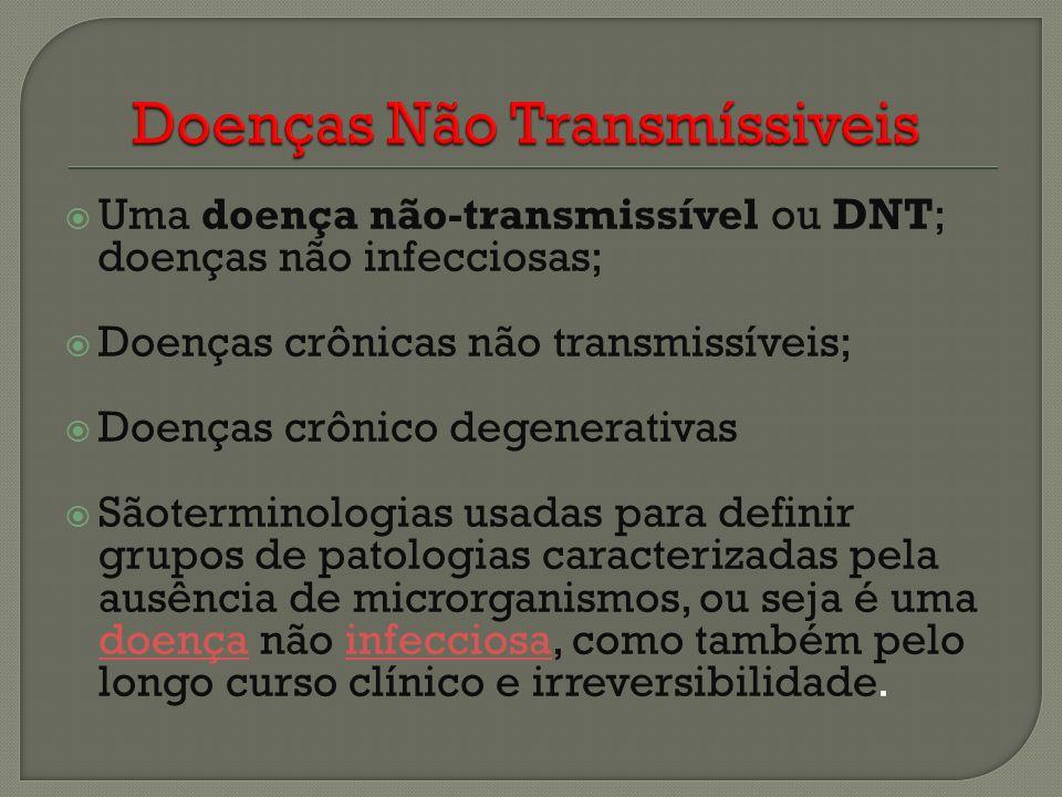 Uma doença não-transmissível ou DNT; doenças não infecciosas; Doenças crônicas não transmissíveis; Doenças crônico degenerativas Sãoterminologias usad
