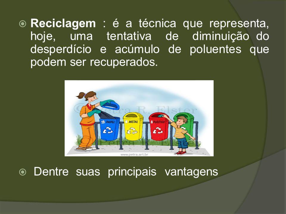 Reciclagem : é a técnica que representa, hoje, uma tentativa de diminuição do desperdício e acúmulo de poluentes que podem ser recuperados. Dentre sua