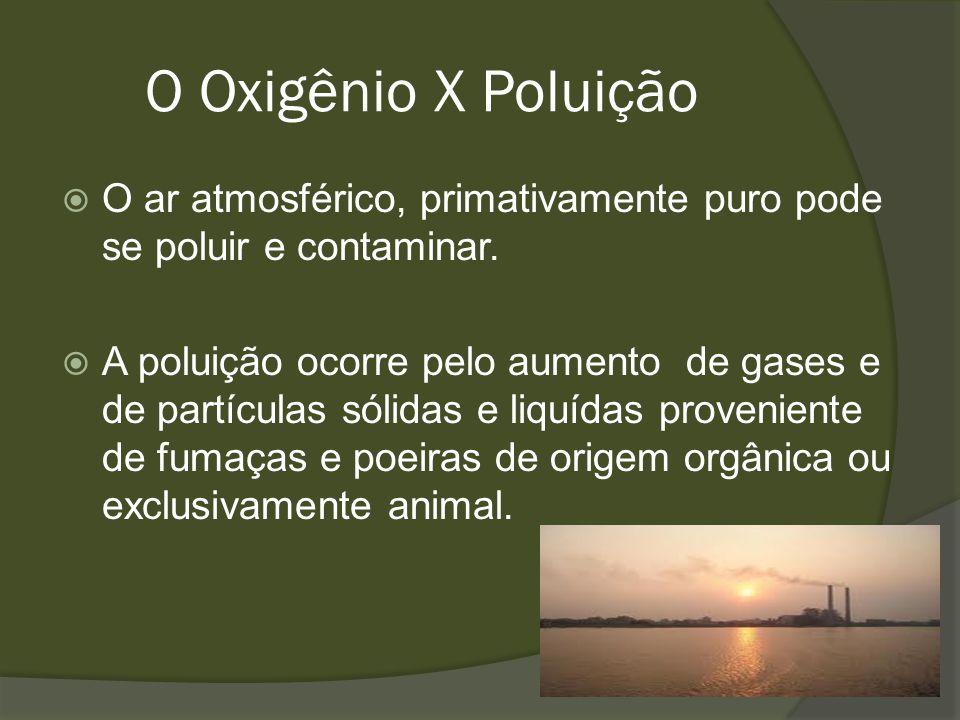O Oxigênio X Poluição O ar atmosférico, primativamente puro pode se poluir e contaminar. A poluição ocorre pelo aumento de gases e de partículas sólid