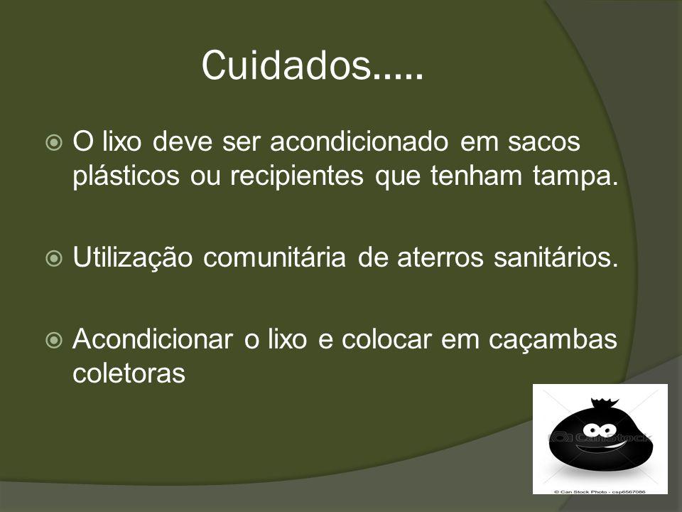 Cuidados..... O lixo deve ser acondicionado em sacos plásticos ou recipientes que tenham tampa. Utilização comunitária de aterros sanitários. Acondici