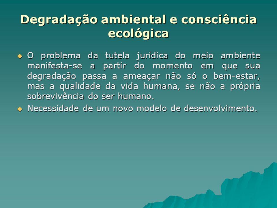 Degradação ambiental e consciência ecológica O problema da tutela jurídica do meio ambiente manifesta-se a partir do momento em que sua degradação pas