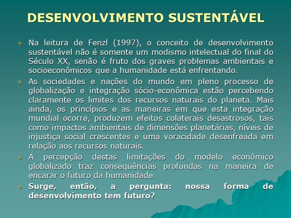 Na leitura de Fenzl (1997), o conceito de desenvolvimento sustentável não é somente um modismo intelectual do final do Século XX, senão é fruto dos gr