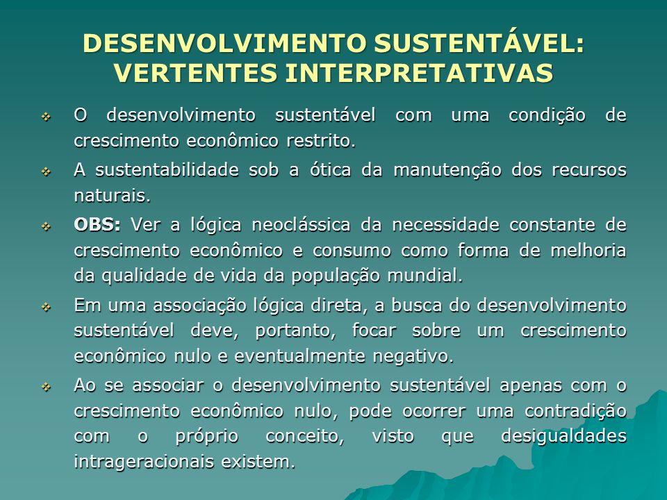 O desenvolvimento sustentável com uma condição de crescimento econômico restrito. O desenvolvimento sustentável com uma condição de crescimento econôm