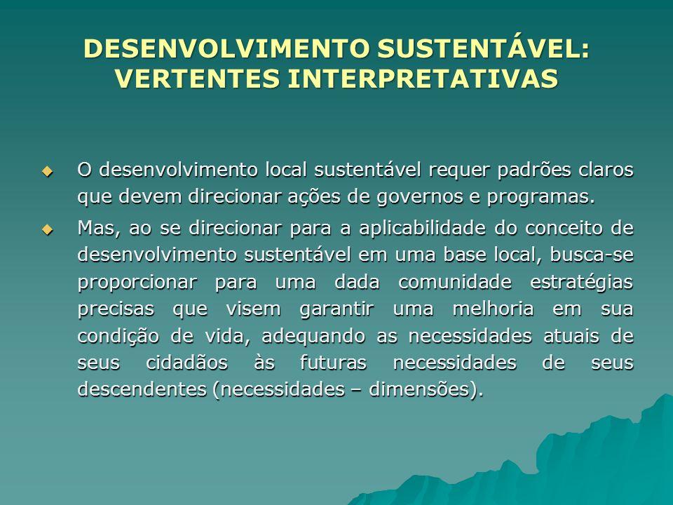 O desenvolvimento local sustentável requer padrões claros que devem direcionar ações de governos e programas. O desenvolvimento local sustentável requ