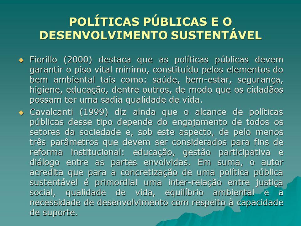 Fiorillo (2000) destaca que as políticas públicas devem garantir o piso vital mínimo, constituído pelos elementos do bem ambiental tais como: saúde, b