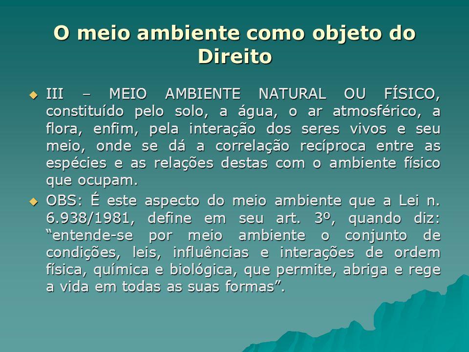 O meio ambiente como objeto do Direito III – MEIO AMBIENTE NATURAL OU FÍSICO, constituído pelo solo, a água, o ar atmosférico, a flora, enfim, pela in