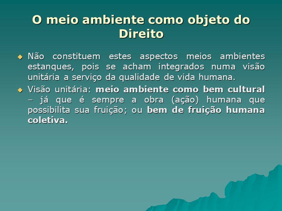 O meio ambiente como objeto do Direito Não constituem estes aspectos meios ambientes estanques, pois se acham integrados numa visão unitária a serviço