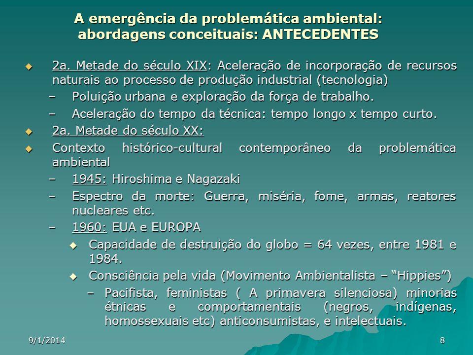 9/1/20148 A emergência da problemática ambiental: abordagens conceituais: ANTECEDENTES 2a. Metade do século XIX: Aceleração de incorporação de recurso