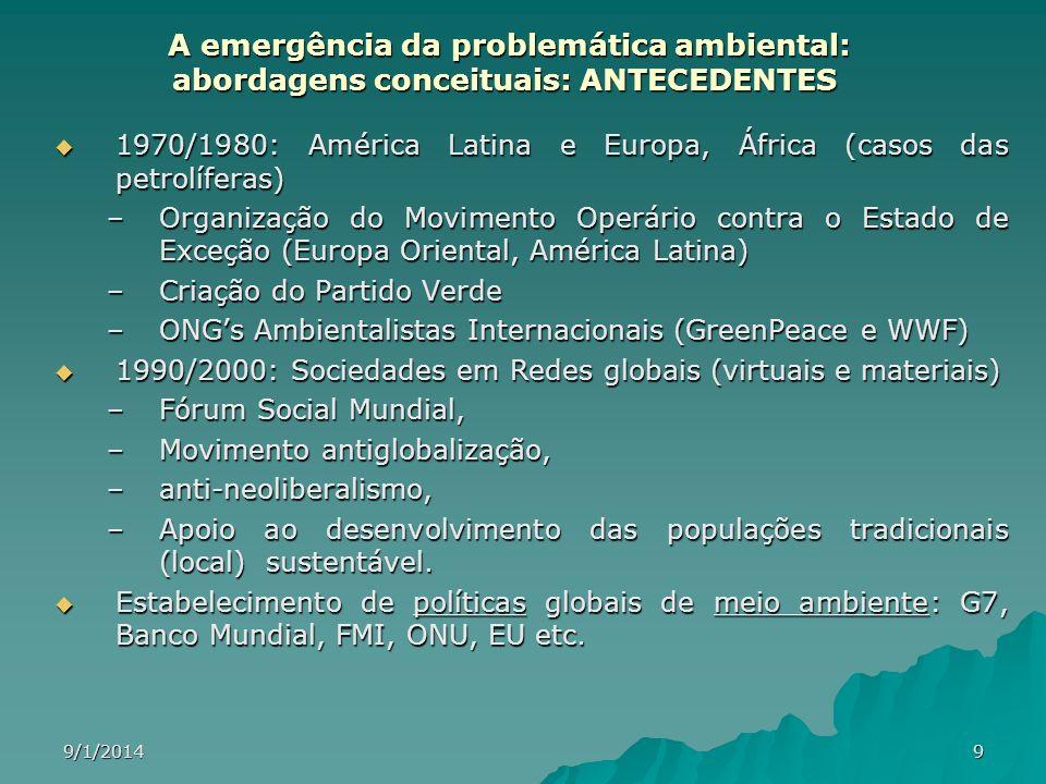 9/1/20149 A emergência da problemática ambiental: abordagens conceituais: ANTECEDENTES A emergência da problemática ambiental: abordagens conceituais: