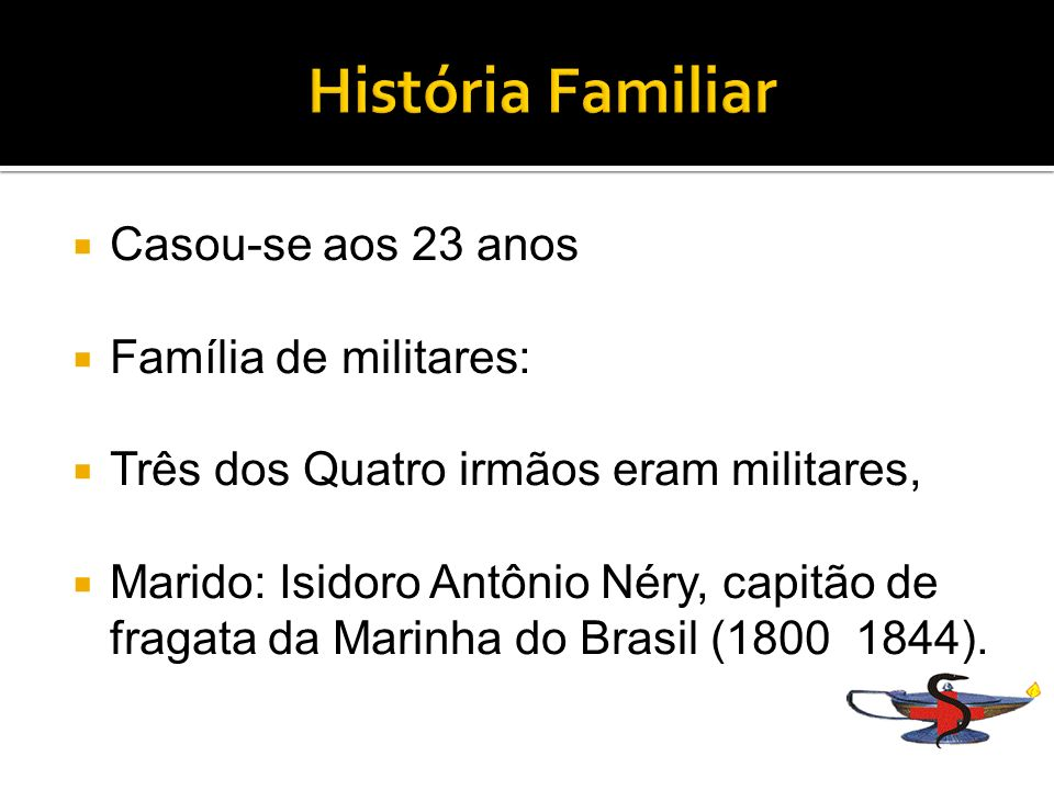 Filhos: Isidoro Antônio Néry - Medicina; Pedro Antônio Néry - Cadete; Justiniano de Castro Rebello - Medicina