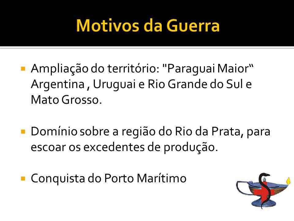 Ampliação do território: Paraguai Maior Argentina, Uruguai e Rio Grande do Sul e Mato Grosso.