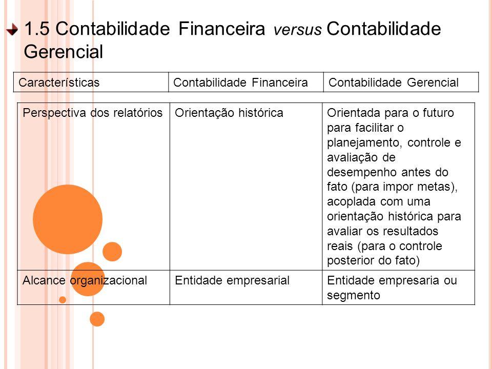 1.5 Contabilidade Financeira versus Contabilidade Gerencial Perspectiva dos relatóriosOrientação históricaOrientada para o futuro para facilitar o pla