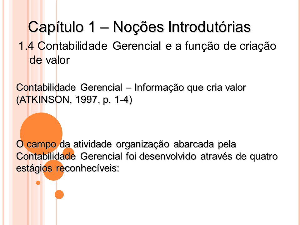 Capítulo 1 – Noções Introdutórias 1.4 Contabilidade Gerencial e a função de criação de valor Contabilidade Gerencial – Informação que cria valor (ATKI
