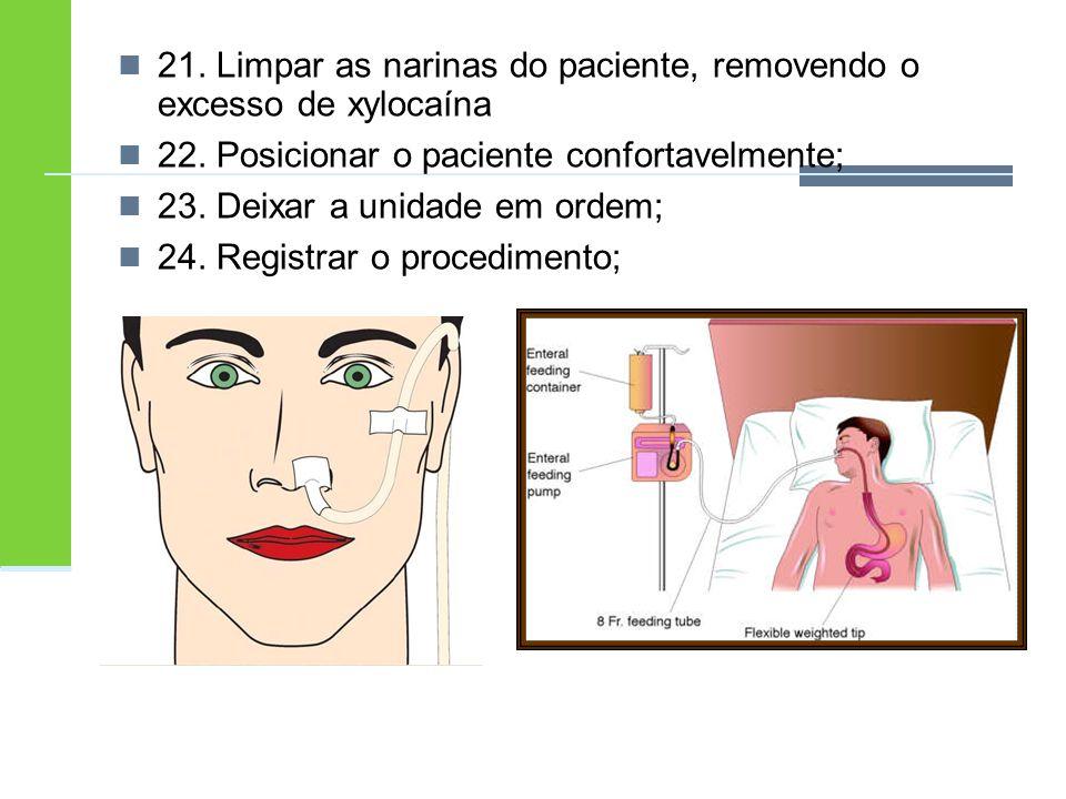 21. Limpar as narinas do paciente, removendo o excesso de xylocaína 22. Posicionar o paciente confortavelmente; 23. Deixar a unidade em ordem; 24. Reg