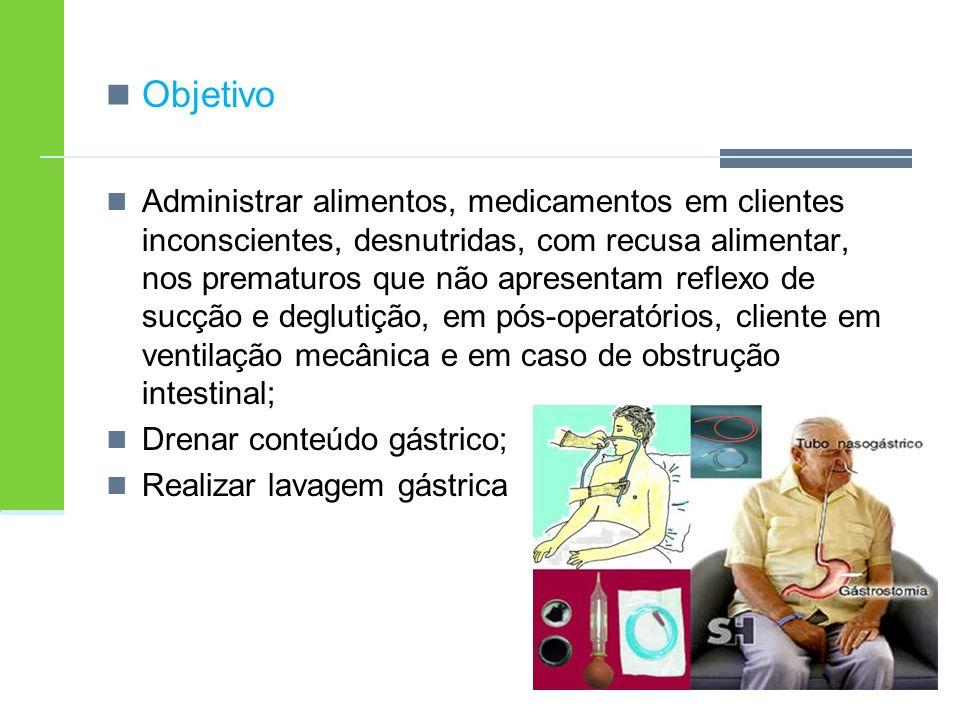 Objetivo Administrar alimentos, medicamentos em clientes inconscientes, desnutridas, com recusa alimentar, nos prematuros que não apresentam reflexo d