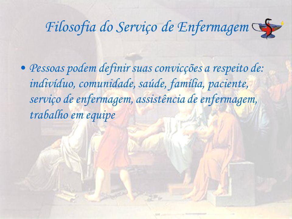 Filosofia do Serviço de Enfermagem Pessoas podem definir suas convicções a respeito de: indivíduo, comunidade, saúde, família, paciente, serviço de en