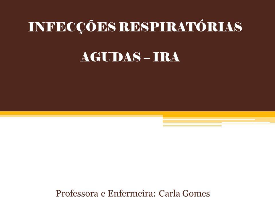INFECÇÕES RESPIRATÓRIAS AGUDAS – IRA Professora e Enfermeira: Carla Gomes