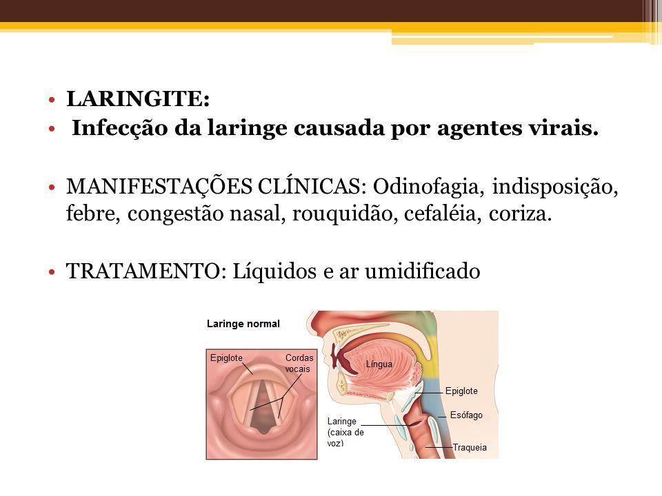LARINGITE: Infecção da laringe causada por agentes virais. MANIFESTAÇÕES CLÍNICAS: Odinofagia, indisposição, febre, congestão nasal, rouquidão, cefalé