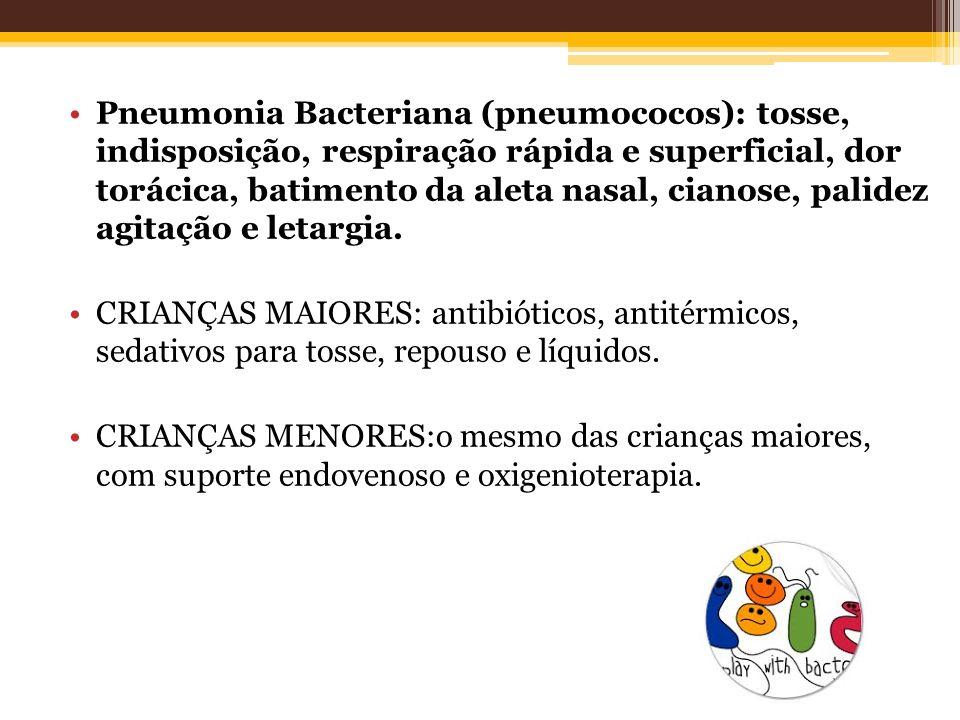 Pneumonia Bacteriana (pneumococos): tosse, indisposição, respiração rápida e superficial, dor torácica, batimento da aleta nasal, cianose, palidez agi