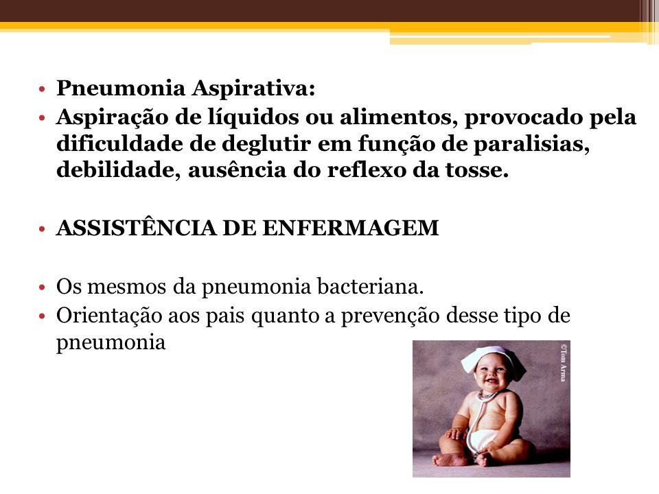 Pneumonia Aspirativa: Aspiração de líquidos ou alimentos, provocado pela dificuldade de deglutir em função de paralisias, debilidade, ausência do refl