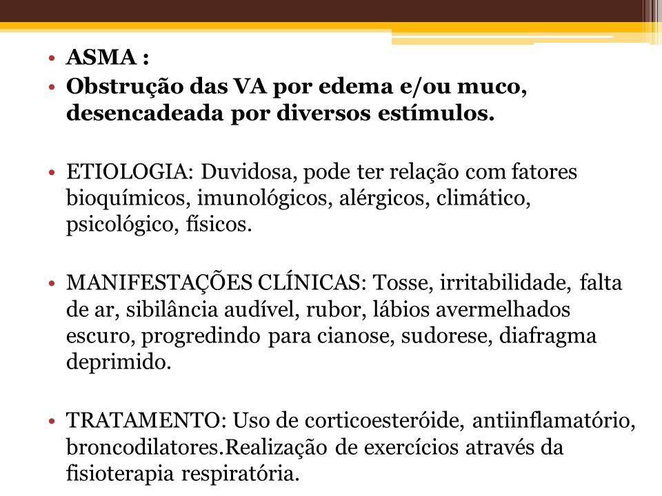 ASMA : Obstrução das VA por edema e/ou muco, desencadeada por diversos estímulos. ETIOLOGIA: Duvidosa, pode ter relação com fatores bioquímicos, imuno