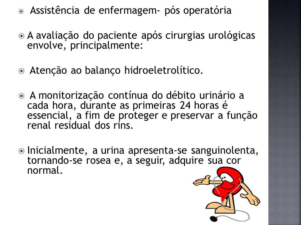 Assistência de enfermagem- pós operatória A avaliação do paciente após cirurgias urológicas envolve, principalmente: Atenção ao balanço hidroeletrolít