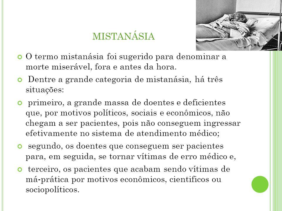 MISTANÁSIA O termo mistanásia foi sugerido para denominar a morte miserável, fora e antes da hora. Dentre a grande categoria de mistanásia, há três si