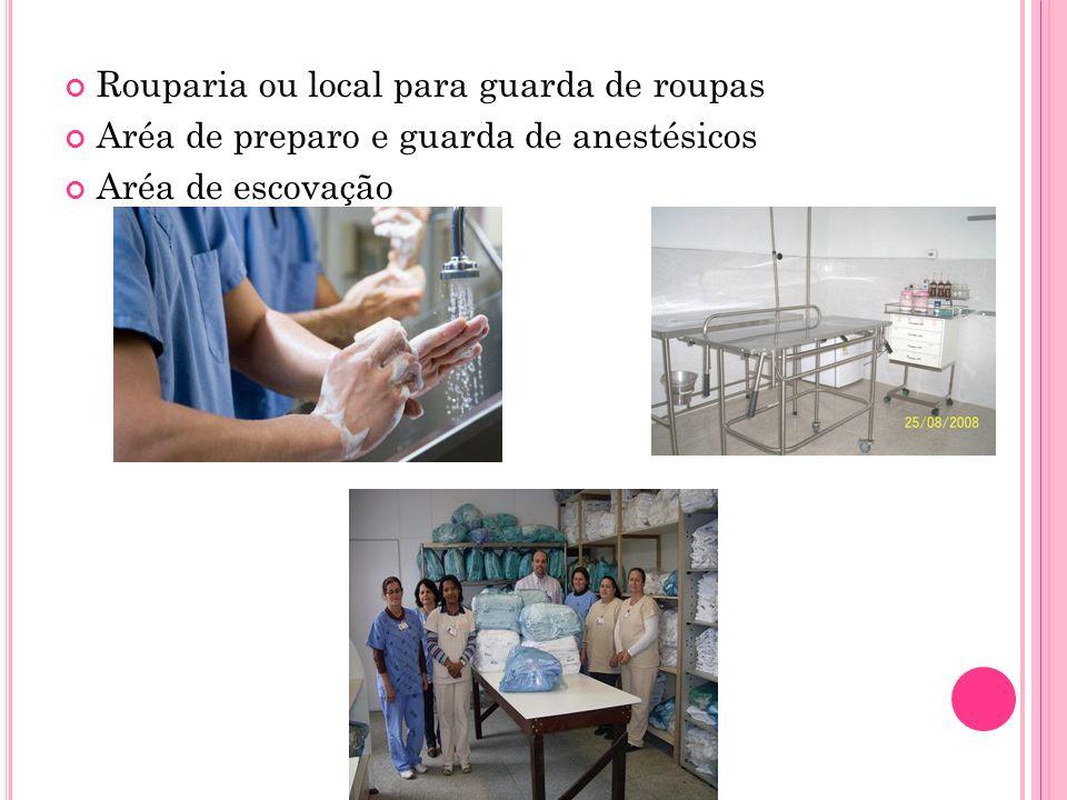 Rouparia ou local para guarda de roupas Aréa de preparo e guarda de anestésicos Aréa de escovação