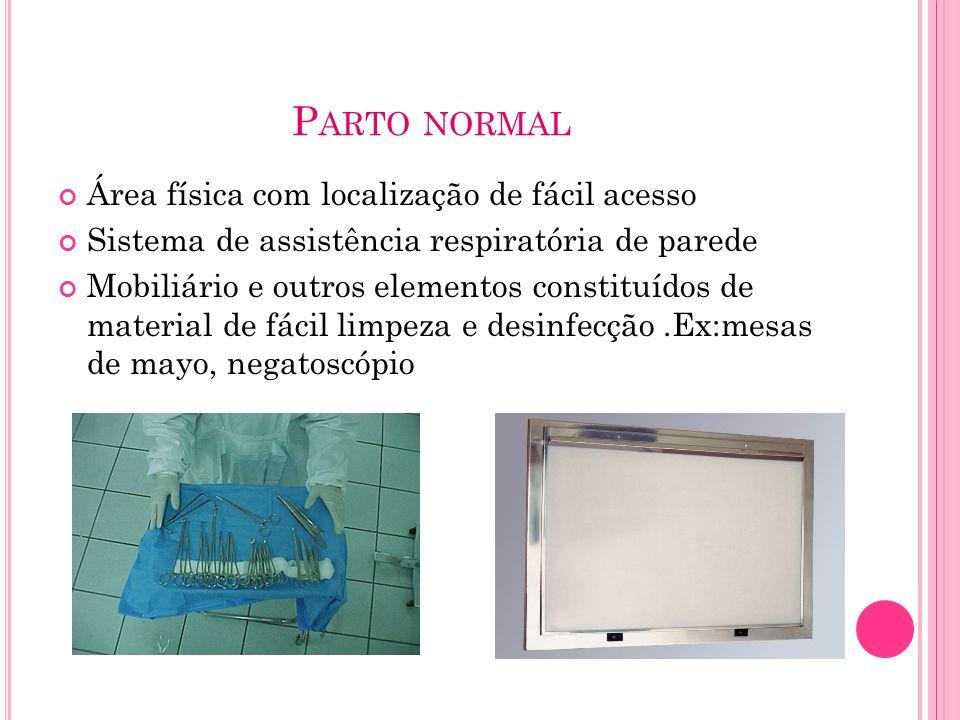 P ARTO NORMAL Área física com localização de fácil acesso Sistema de assistência respiratória de parede Mobiliário e outros elementos constituídos de
