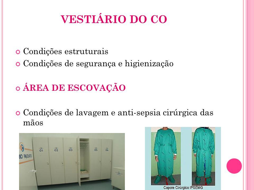 VESTIÁRIO DO CO Condições estruturais Condições de segurança e higienização ÁREA DE ESCOVAÇÃO Condições de lavagem e anti-sepsia cirúrgica das mãos
