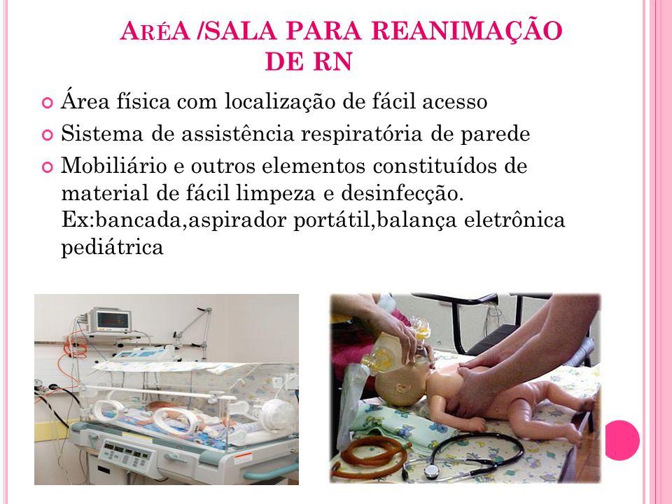 A RÉ A /SALA PARA REANIMAÇÃO DE RN Área física com localização de fácil acesso Sistema de assistência respiratória de parede Mobiliário e outros eleme