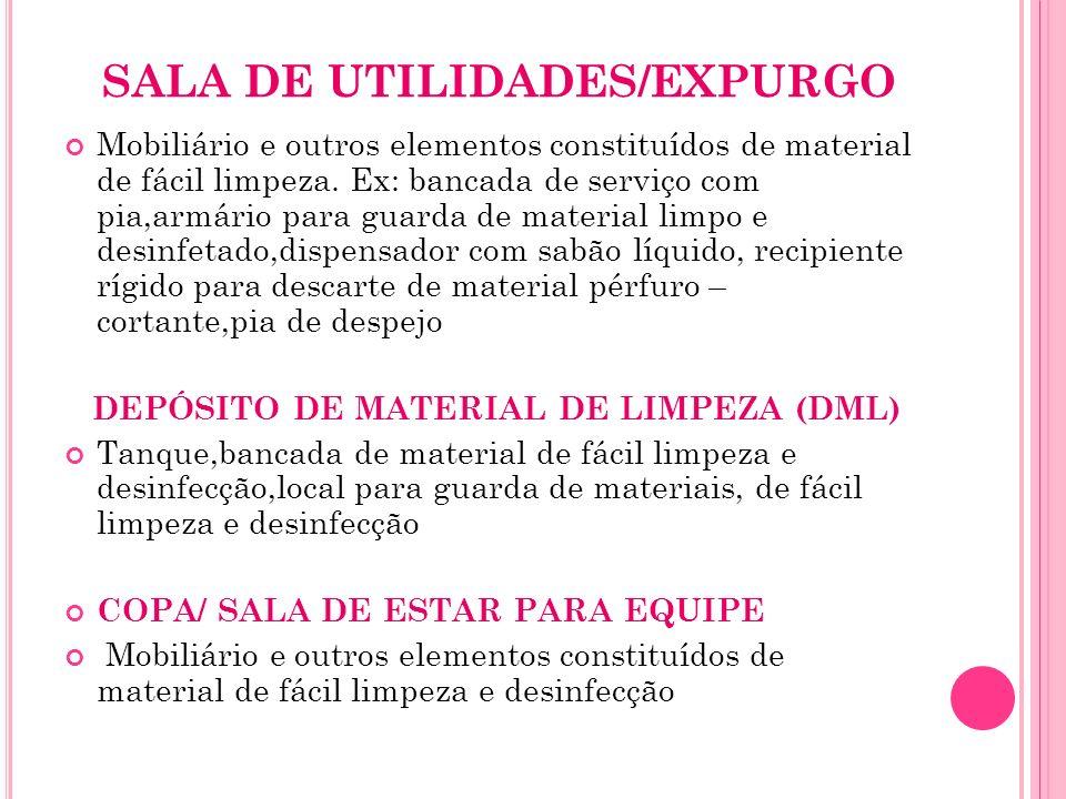 SALA DE UTILIDADES/EXPURGO Mobiliário e outros elementos constituídos de material de fácil limpeza. Ex: bancada de serviço com pia,armário para guarda