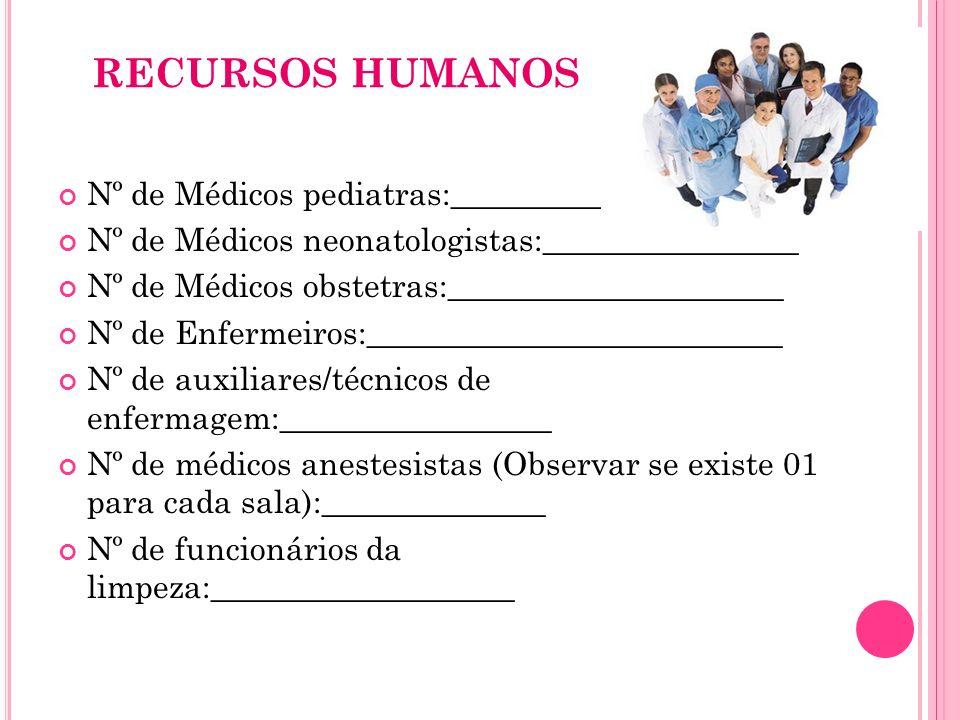 RECURSOS HUMANOS Nº de Médicos pediatras:_____________________ Nº de Médicos neonatologistas:________________ Nº de Médicos obstetras:________________