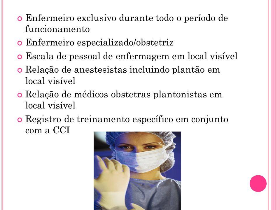 Enfermeiro exclusivo durante todo o período de funcionamento Enfermeiro especializado/obstetriz Escala de pessoal de enfermagem em local visível Relaç